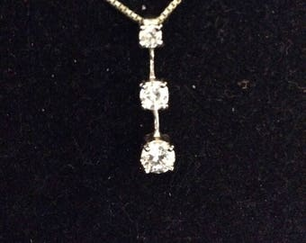 Sterling Silver and Cubic Zirconia Necklace, 925, Three Stone