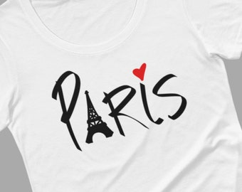 Paris t-shirt for women, black or white tee, Eiffel Tower, heart, I love Paris, handrawn by Felicia Stevenson