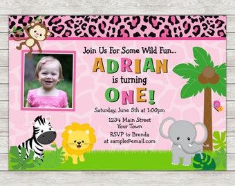 Safari Birthday Invitation Girl, Pink Jungle Safari Birthday Invitation - Digital File (Printing Services Available)
