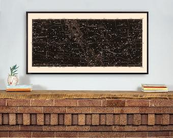 Star Map Print, Constellations Chart Print, Antique Large Horizontal Art Print, Masculine Home Decor, Star Chart Print, Library Art, Den