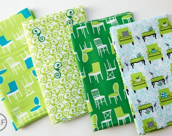 Perfectly Perched in Green Half Yard Bundle, 4 Pieces, Laurie Wisbrun, 100% Cotton, Robert Kaufman Fabrics, AWN