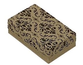 "New (50) Damask Print Kraft 3 1/4"" X 2 1/4"" Cotton Filled Jewelry Gift Boxes"