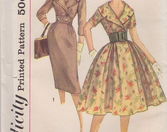 Vintage 1950s Simplicity Sewing Pattern 3068 / Misses Wide Collar Dress with Full or Slim Skirt / Size 12 Bust 32