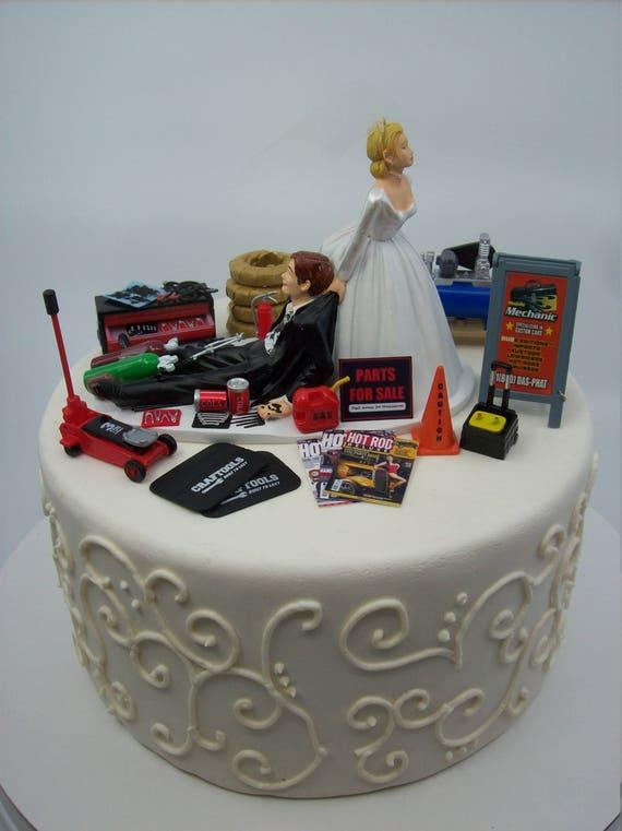 SALE Humorous Wedding Cake Topper Funny Mechanic Grooms Garage