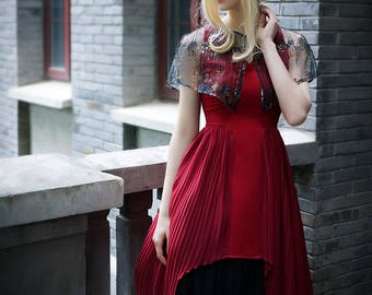 Vintage Gothic Fashion Pleated Dress Womens Summer Dress Black Dress Red Dress
