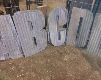 """24"""" Tall Corrugated Metal Letters A-Z  and Numbers 0-9 FREE SHIPPING"""