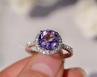 8mm Natural Amethyst Ring Amethyst Engagement Ring/ Wedding Ring 925 Sterling Silver Ring Anniversary Ring Silver Gemstone Ring