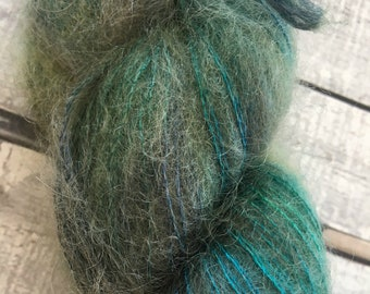 Variegated Hand Dyed Yarn-MOONSTONE-Hairy Toad-50 gr skein of mohair yarn-72 Kid Mohair, 28 Silk-459 yards-Toad Hollow Yarn-Indie Dyed Yarns