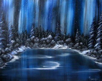 Winter Landscape Oil Painting Aurora Borealis Canvas Painting by Robin Harvey - Northern Lights