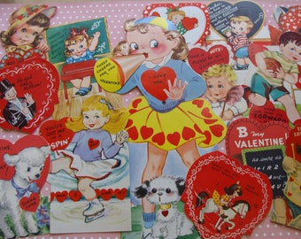 Vintage Valentines .... Bakers Dozen from the 1950s ... Lot 1
