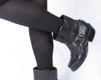vintage genuine black leather harness stacked heel biker western cowboy cowgirl ankle boots sz 7.5