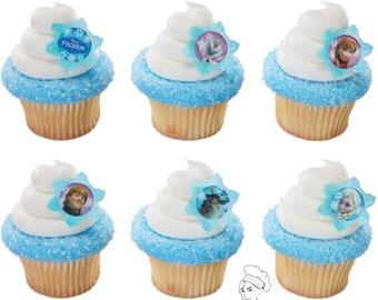 24 Frozen Cupcake toppers, elsa ans anna, frozen birthday, frozen party,