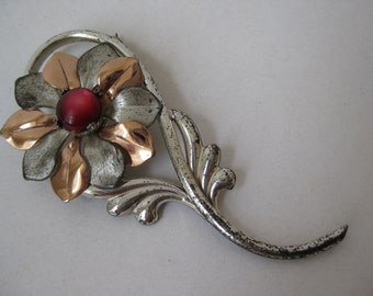 Silver Copper with Red Flower - vintage brooch