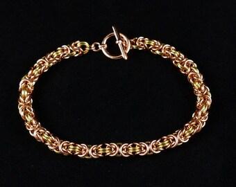 """7.75"""" Two-Tone Brass & Copper Byzantine Bracelet"""