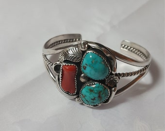 Cuff Bracelet, Southwest Jewelry, Native American, Turquoise, Coral, Sterling Silver, Vintage