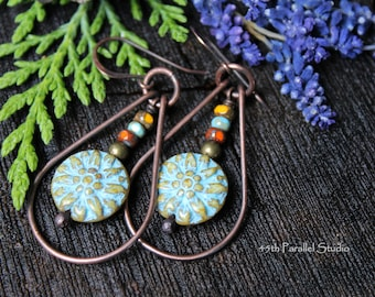 Boho Hoop Earrings, Boho Earrings, Boho Jewelry, Hippie Earrings, Hippie Jewelry, Flower Earrings, Copper Earrings, Copper Jewelry, Hoops