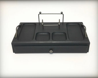 Graphite Black Mens Jewelry Box, Mens Vintage Valet, Wood Valet, Mens Dresser Box, Desk Tray Organizer, Gift For Men