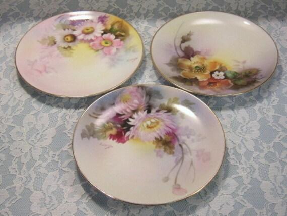 Noritake Nippon China Handpainted Pastel Flower Plates
