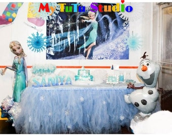 Frozen Snowflakes Tulle Table TuTu Skirt for Frozen Anna and Elsa Celebration Birthday Party, Kids Party TSB04014