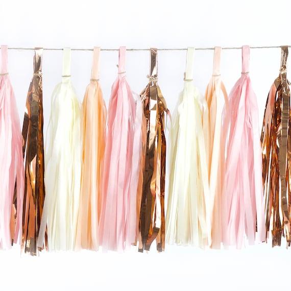 Blushing Peony Tassels, Tissue Tassels, Tassel Banner, Birthday Party Decor, DIY Tassels, Girl Birthday, Wedding, Baby Shower Blush Pink