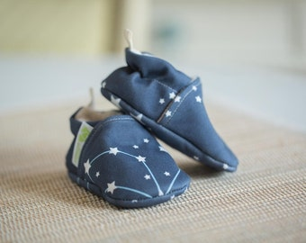 Organic Knits Vegan Constellation / All Fabric Soft Sole Baby Shoes / Made to Order