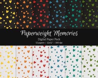 "Digital patterned paper - Falling Hearts -  digital scrapbooking - scrapbook paper - textured paper - 12x12"" 300dpi  - Commercial Use"