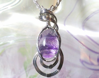 Purple Fluorite Womans Pendant Necklace  Wire Wrapped Jewelry Handmade in Silver with FREE SHIPPING