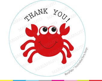 Crab Thank You Stickers,  PRINTED round Stickers, tags, Labels or Envelope Seals  A811