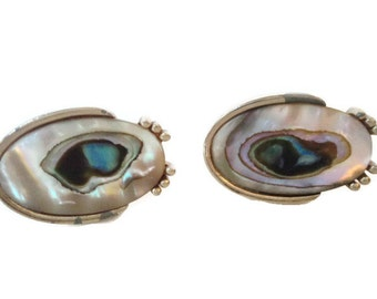 Vintage Cuff Links Swank Abalone Shell