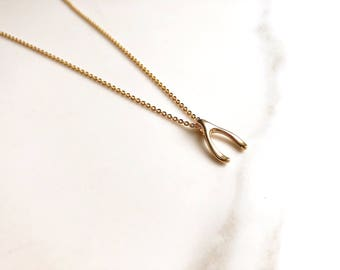Small Matt Gold Plated 'Make a wish' Charm Necklace
