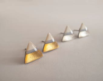 White Blue Gray with 23k Gold or Silver Triangle Stud Earrings - Hypoallergenic Titnium Posts