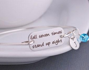 Fall Seven Times Stand Up Eight Bracelet, Motivational Bangle Bracelet, Custom Inspirational Jewelry