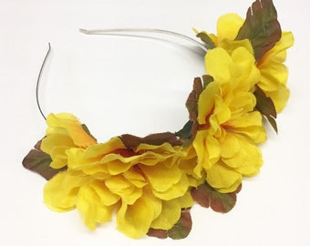 Bright Yellow Peony Flower Crown