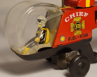 Vintage tin litho friction Fire Chief Halicopter Toy, Japan