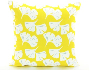 Yellow Throw Pillow-Cushion Cover ALL SIZES Yellow White Ginkgo Spa Blue Couch Pillow Bedding Accent Pillow Decorative Pillow Cushion Floral