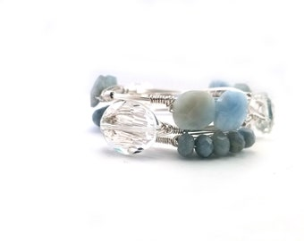 Aquamarine bangle, and crystal bangle set of 3 wire wrapped stackable bangle bracelets, Bourbon and Boweties inspired set