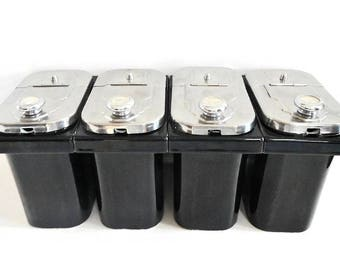 Vintage CHOICE of Ice Cream / Soda Fountain Ceramic Topping Dispensers - black,silver, Cherry, Carmel,Pineapple, Marshmallow,parlor,Art Deco