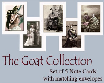 The Goat Collection, Goat Note Cards, Blank Note Cards, Vintage Goat Cards, Anthropomorphic, Whimsical Goat Art, Unique Cards, Funny Goats