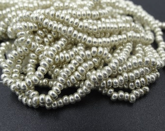 Czech Glass 10/0 Terra Metallic Silver Seed Bead Mix  3 Strands