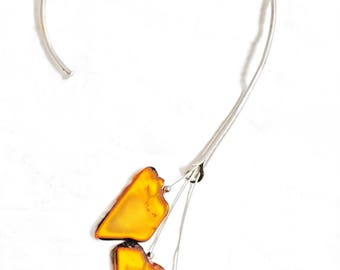 Baltic Amber Necklace - Amber Sterling Silver - Artisan Jewelry - Amber Flower Necklace - Modernist Design - Wearable Art - Organic