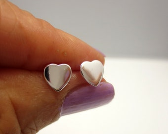 Small Heart Posts/Sterling Silver Heart Post Earrings/Polished Heart Studs/Rose Gold Heart Posts/Yellow Gold Heart Posts/Stud Earrings
