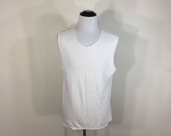 70's vintage cut off sleeve neck blank t-shirt scoop neck