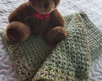 Frosty green baby blanket