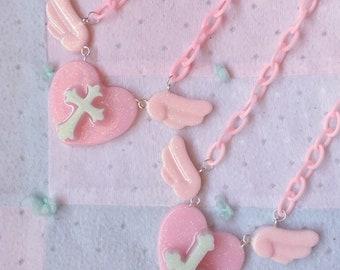 Angel Cross - Yumekawaii Fairy Kei Cult Party Necklace