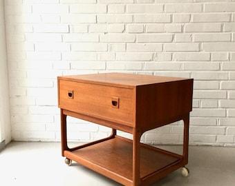 Mid century side table, sewing teak, vintage sideboard, seamy, trolley, bedside table, Mid century side table, Danish design
