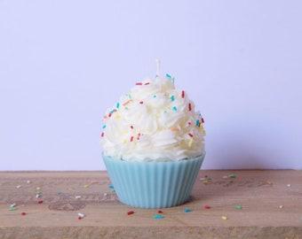Blue Cupcake candle