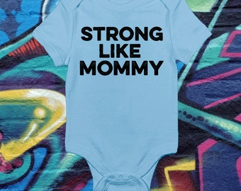 Cute Strong Like Mommy T-shirt Family Gift For Mom Mother's Day Gift Mommy Baby Bodysuit Toddler Youth Shower Baby Shower Gift Gym Shirt