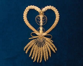 Large heart woven with 12 stems of wheat, Deco 2 leaves embroidered and tied, ideal gift for the wedding of wheat