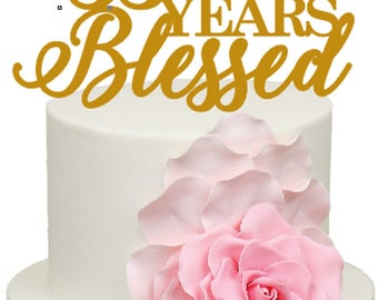 55 Years Blessed 55th Wedding Anniversary Acrylic Cake Topper