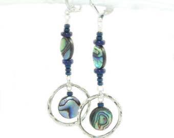 Paua Shell & Lapis Gemstone Silver Earrings - Positive Synergy Handmade Jewelry
